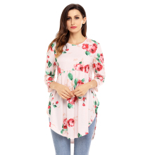 Fashion Design Cheap Latest Floral Loose Tunic Top For Women Casual
