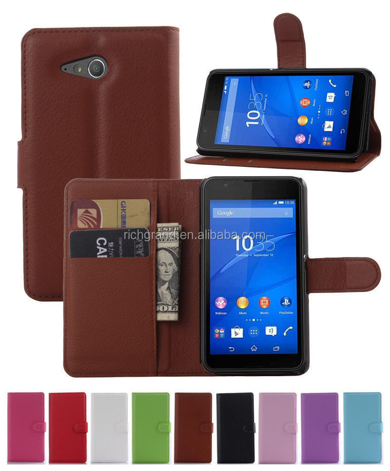 Luxury Litchi Leather wallet flip stand pouch Cover Case For Sony Experia E4g E2006