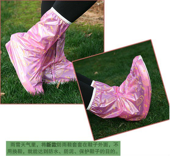 Printed Ms. long-barreled pearl film rain shoes high waterproof shoe cover rain boots
