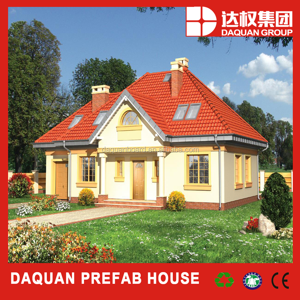 stable traditional duplex roof prefab house with rain gutter system