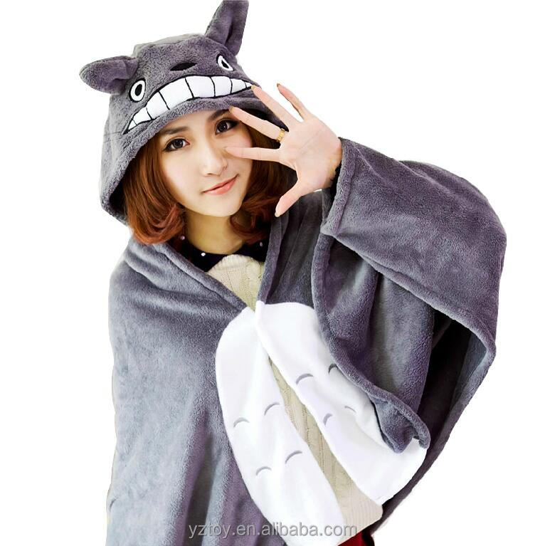1pcs 150*70cm Plush toy totoro mantissas cape lounged blanket air conditioning blanket dual coral fleece