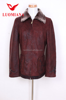 Rust color Suede Shearling Jacket For Womens Crossover Sheepskin Jacket 17W400