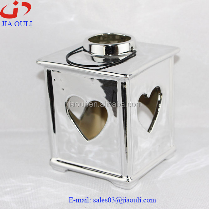plating silver ceramic heart hollowed-out hurricane lamp