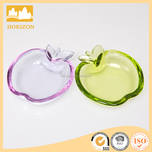 cute apple shape colored glass plates, glass dessert plate tabelware, pressed wholesale cheap unique glass dessert plate