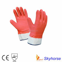 China Wholesale Fully Coated Cotton Lined Latex Gloves