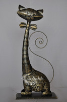Metallic Long Neck With Bow Cat Figurine