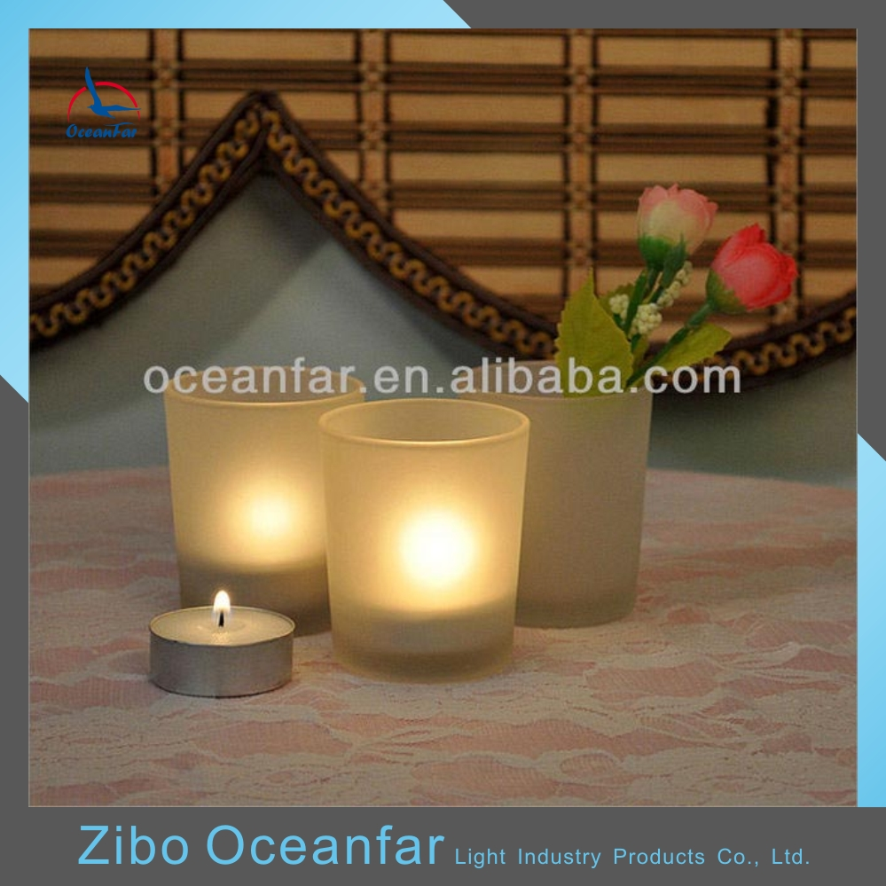 Eco-friendly Frosted White Glass Candle Holder Recycled Votive Candle Holders