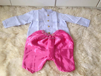 Kid's Thai Costume for boys. Shirt with light pink Thai silk pants