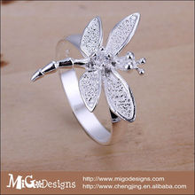 wholesale Decor art crystal platinum plated lovely dragonfly engagement rings