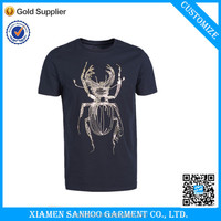 China Wholesale Navy Color Mens Tshirt Gold Printing With Pattern From China Clothing Manufacturer Overseas