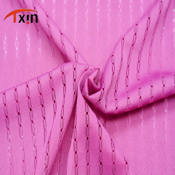 polyester pink color jacquard fabric for decorated and lining
