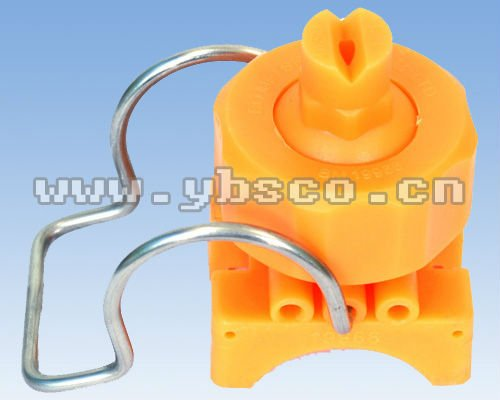 yellow plastic spray nozzle with clamp
