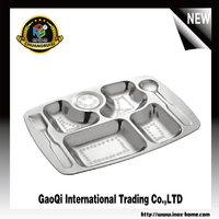 Hot selling Rectangular Electrolytic stainless steel fast food tray / restaurant lunch tray / school dinner plate