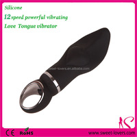 2016 NEW styles health silicone material stronger vibrating speed black tongue love shape vibrating sex toy for girls