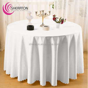Wedding polyester customized decor table linen/white round tablecloth on cheap price for wedding banquet restaurant