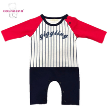 Custom printed wholesale cotton raglan sleeve children's boutique clothing set baby clothes romper