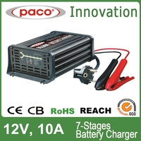 7 stages electric vehicle charger 12v 10A, charging batteries and cutting off it automatically