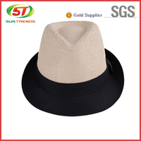 2015 Wholesale Black And Red Fedora Hat With Custom Logo Band