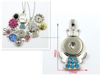 28MM Silver Jewelry Angel Shaped Snap Button Pendant Necklace