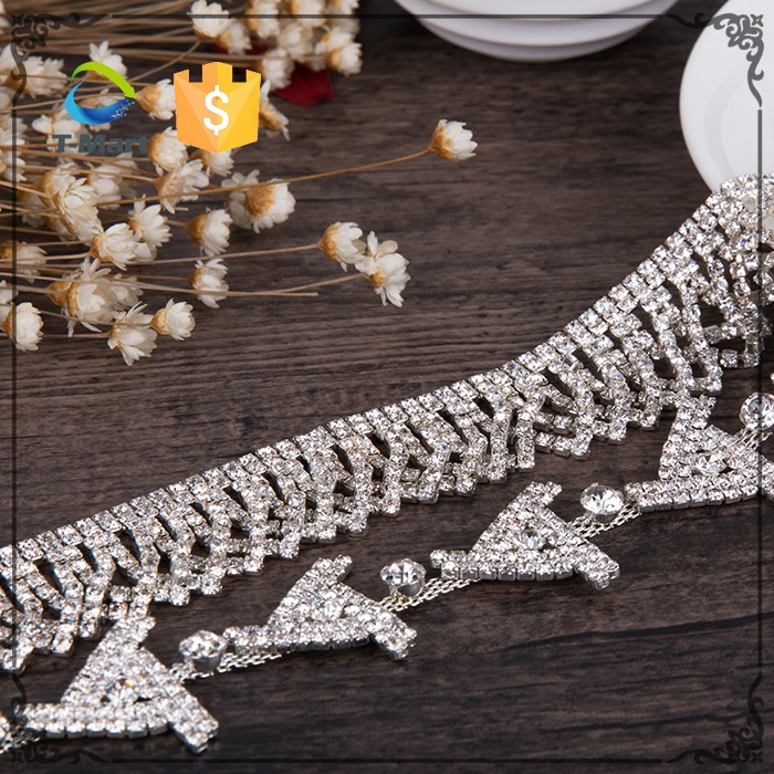 Wholesale crystal rhinestone fashion jewelry jeans chain