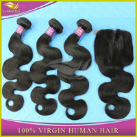 Wholesale high quality 100% virgin brazilian hair closure with hair bundles