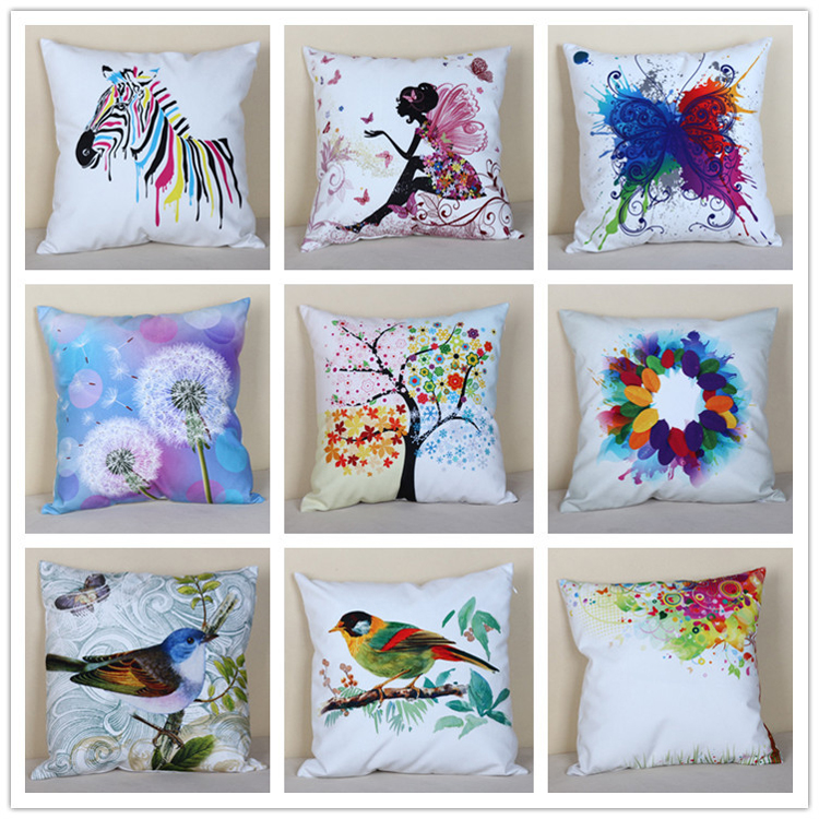 2015 hotsale oem personalized customization digitally print watercolour throw pillow/scatter cushion
