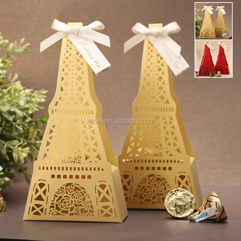 Yellow Romantic Paper Craft Wedding Favor Candy Boxes Small Boxes for Sweets XTH-005_YE