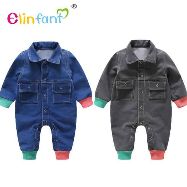Elinfant 2018 spring high quality children bodysuit korean style long sleeve cowboy baby jumpsuit clothes