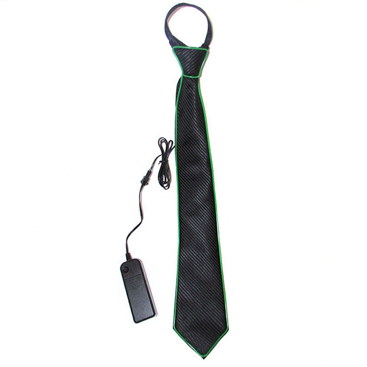 Fashionable novelties wholesale led flashing light up necktie flexible neon light EL wire rope light up el wire <strong>tie</strong>