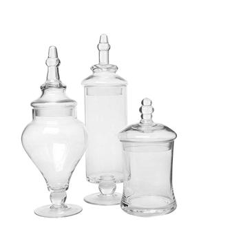 Elegantly designed Clear Glass  hand blown Apothecary Jars  Decorative Weddings Candy Buffet