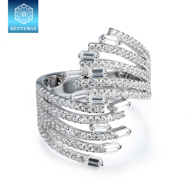 Baguette Pure Gemstone Diamond Ladies Chunky Statement Silver Ring
