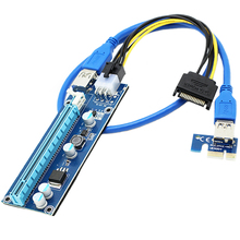 PCI-E VER 006C PCI-E 16x to 1x Powered Riser Adapter Card, GPU Riser Adapter with USB 3.0 Extension Cable