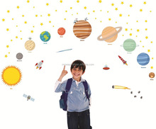 Educational Solar System Wall Decals Fun Planets in Space Wall Stickers Space Exploration by treepenguin