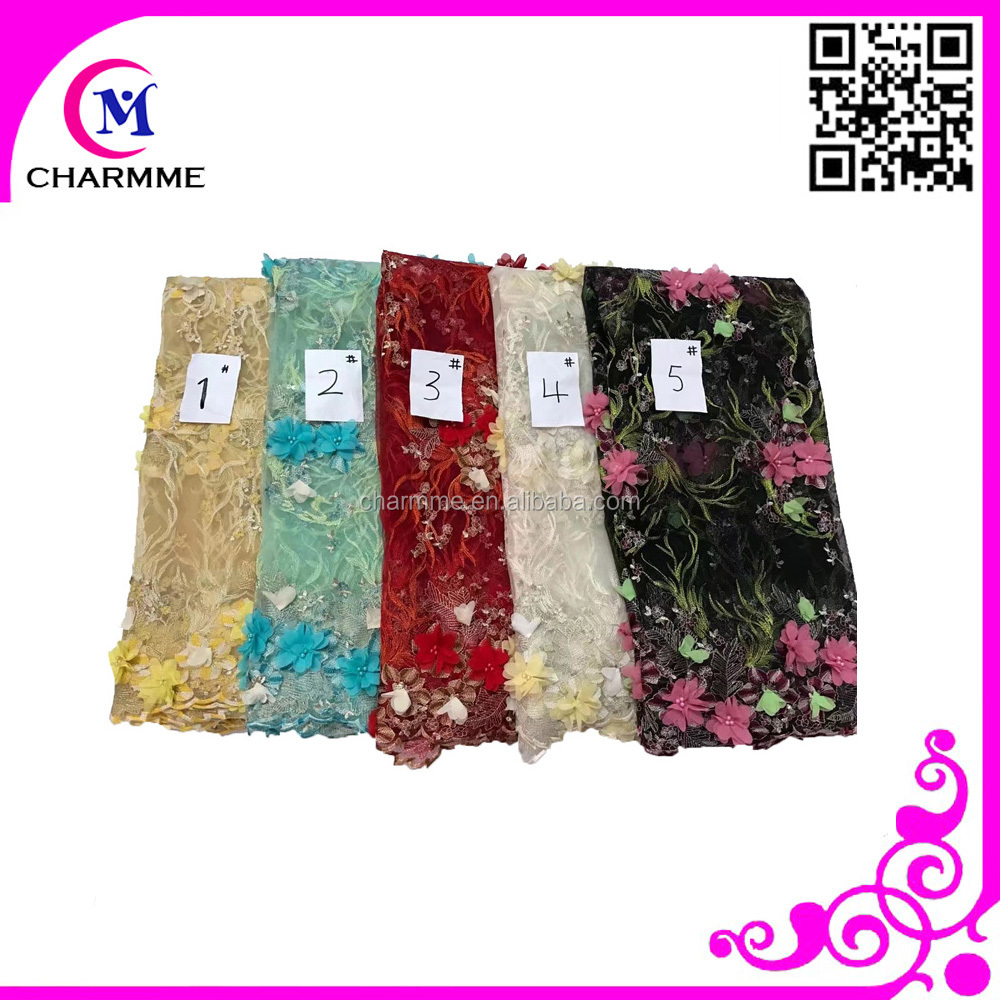 embroidery cotton lace curtain fabric with black embroidery lace curtain fabric CCL 9N837 for 3d lace fabric