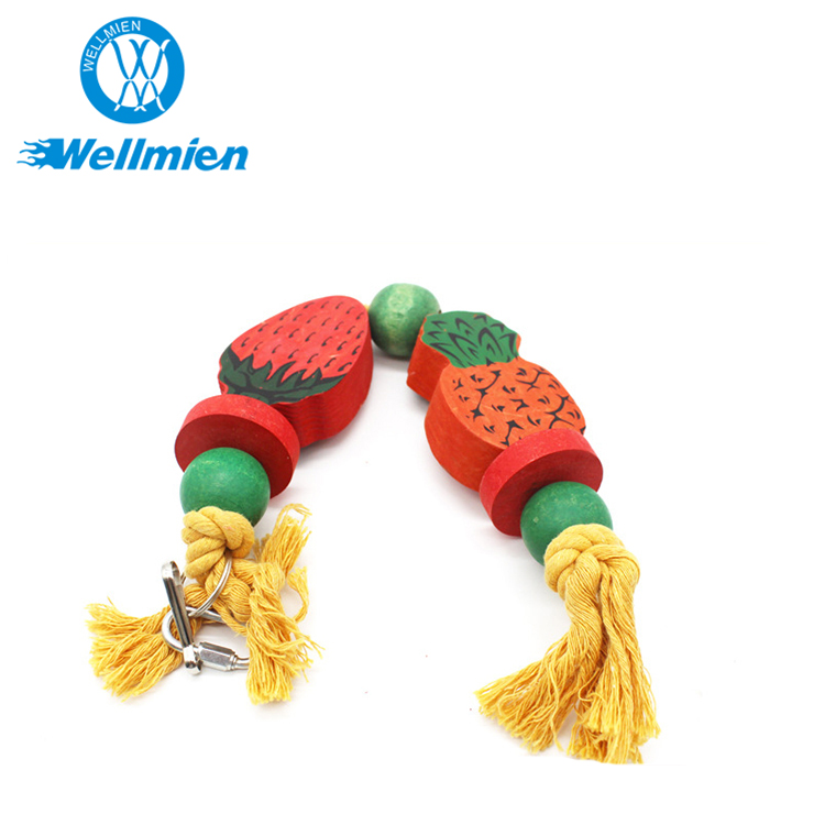 Eco-friendly Fruit Shape Solid Wood High Quality Parrot Bird Hanging Toy