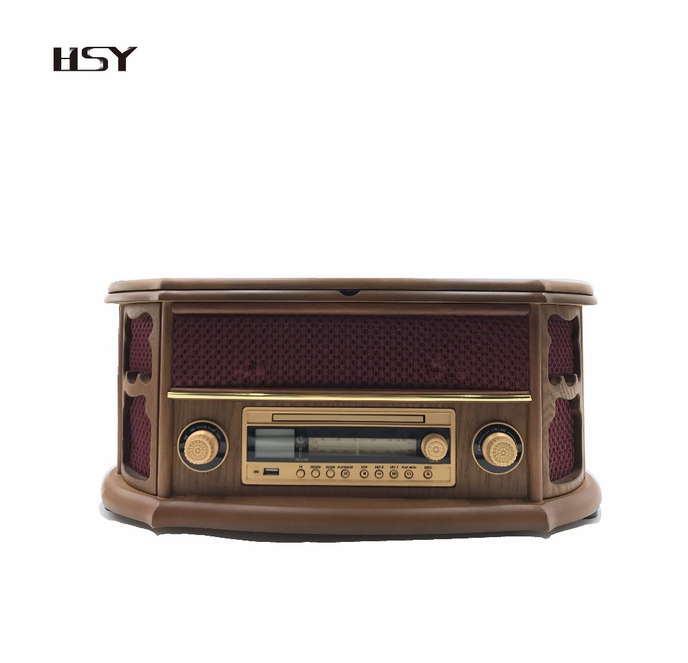 Antique Bluetooth cassette radio player wooden turntable wholesale vinyl record
