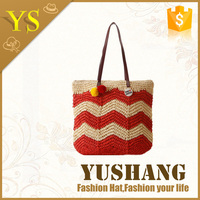 2016 fashion paper straw bag beach bag with leather handle