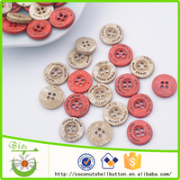 High quality 60 degree hot water washing special oil coating dyed colorful coconut buttons with logo