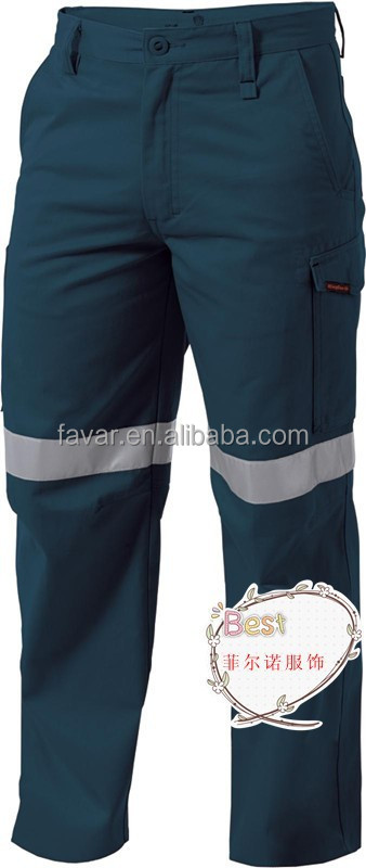 Fluorescence hi-vis reflective safety work pant/trouser