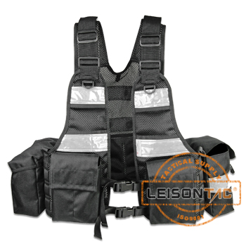 Reflective Tactical Vest main body adopts thicken soft mesh material/covered by molle system