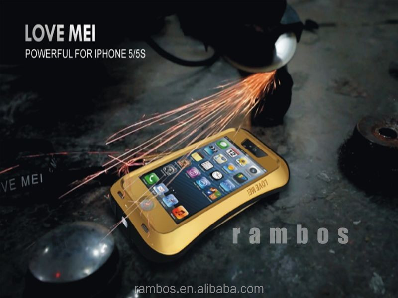 Tempered Gorilla Glass Small Waist Aluminum Metal Waterproof Shockproof Dirtproof Love Mei Case for iPhone 5 5S