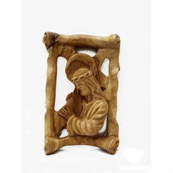 Bethlehem Olive wood carving Jesus carrying cross plaque handicraft