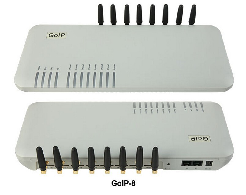 Quad Band GSM VoIP gateway 8-channel GSM GoIP 8 Sim cards