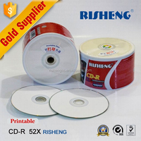 RISHENG blank 52x 700mb cd-r printable/cd disc recordable 50 shrinkwrap spindle/printable blank cd stock