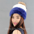 CX-C-235K Women Winter Fashion Knitted Real Mink Fur Pom Pom Hat