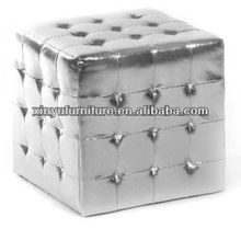 High Gloss Silver leather ottoman/leather sofa XY0312