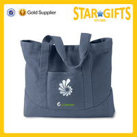 Custom Standard Size Cotton Canvas Tote Bag With Outside Pockets