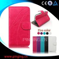 factory price leather flip case for samsung s4 mini i9190/i9192/i9195/i9198