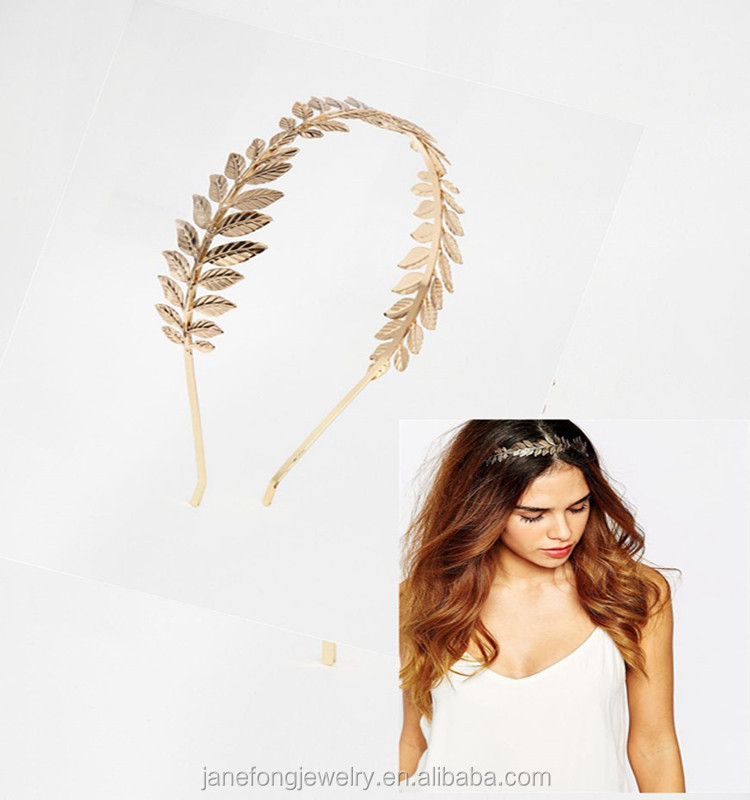Gold Plated <strong>Hair</strong> <strong>Accessories</strong> New Design Gold Leaf Metal <strong>Hair</strong> Band