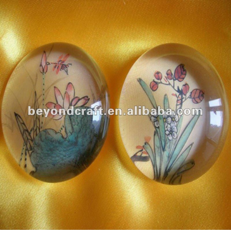 Round crystal glass paper weight for corporation gifts